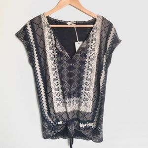 Lucky Brand Bohemian Printed Blouse Size S